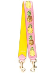 Dolce And Gabbana Pineapple Print Bag Strap Pink Purple