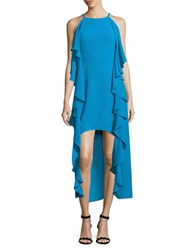 Belle By Badgley Mischka Ruffled Halterneck Dress Turquoise