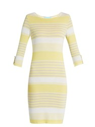 Melissa Odabash Maddie Striped Knit Mini Dress Yellow White