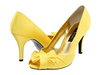 Nina Forbes Canary Satin Women's Slip On Dress Shoes Yellow
