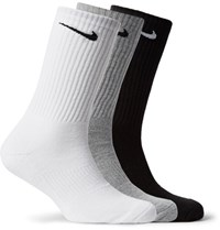 Nike Three Pack Cushioned Cotton Blend Socks Gray