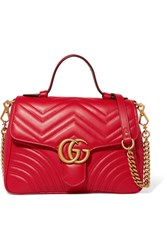 Gucci Gg Marmont Small Quilted Leather Shoulder Bag Red