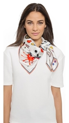 Anya Hindmarch Sticker Pattern Silk Scarf Chalk