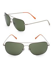 Jack Spade Griffin 60Mm Aviator Sunglasses Silver