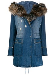 Philipp Plein Fur Lined Denim Coat Blue