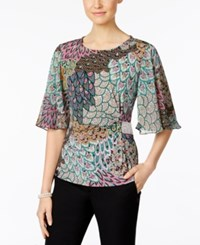 Msk Rhinestone Flutter Sleeve Evening Blouse Apple Sky