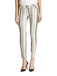 7 For All Mankind The Ankle Skinny Striped Jeans Multi Grey