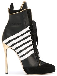 Dsquared2 Stripe Panel Heeled Boots Women Leather 37 Black