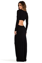 Pencey Exclusive Long Sleeve Open Back Maxi Dress Black