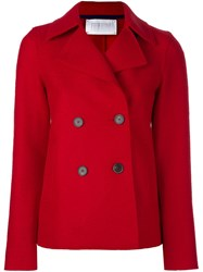 Harris Wharf London Double Breasted Short Coat Red