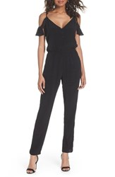 Fraiche By J Ruffle Cold Shoulder Jumpsuit Black