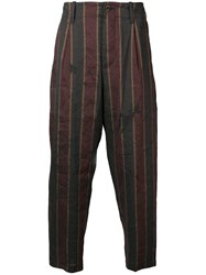 Uma Wang Red And Blue Striped Trousers