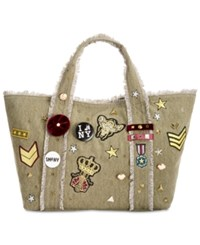 Steve Madden Grady Large Tote With Patches And Pins Army Green