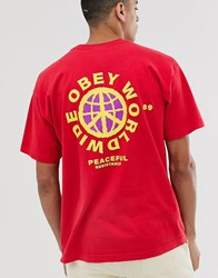 Obey Peaceful Resistance T Shirt With Back Print In Red