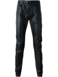 Saint Laurent Faux Leather Trousers Black