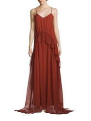 Elizabeth And James Catriona Ruffled Gown Clay