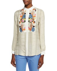 Etro Floral Embroidered Check Blouse Ivory