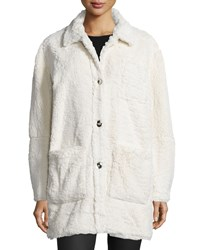 Opening Ceremony Faux Sherpa Button Front Coat Cream Ivory