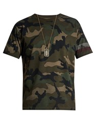 Valentino Camouflage Print Cotton Jersey T Shirt Green