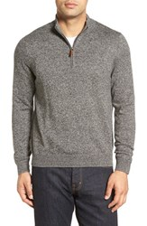 Nordstrom Men's Big And Tall Men's Shop Half Zip Cotton And Cashmere Pullover Black Caviar Jaspe