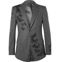 Alexander Mcqueen Embroidered Wool Blazer Gray