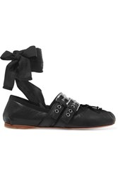 Miu Miu Lace Up Leather Ballet Flats Black