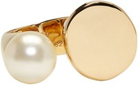Chloe Gold Large Darcey Round Pearl Ring