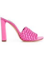 Casadei Daytime Woven Mules Pink And Purple