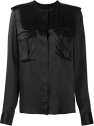 Haider Ackermann Collarless Pocket Blouse Black
