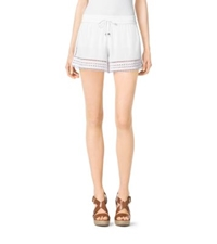 Michael Kors Perforated Crepe Shorts White