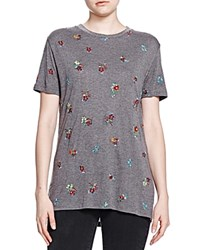 The Kooples Floral Embroidered Tee Gray