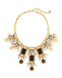 Sequin Pearly Statement Necklace Black