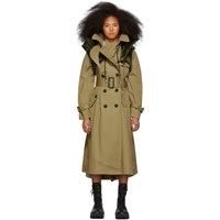 Sacai Beige Coated Cotton Trench Coat