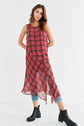 Cooperative Asymmetrical Plaid Midi Dress Red Multi
