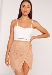 Missguided Wrap Lace Mini Skirt Tan Brown
