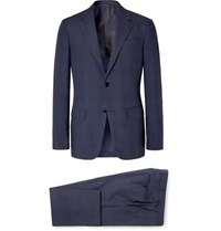 Ermenegildo Zegna Navy Slim Fit Checked Wool And Silk Blend Suit Navy