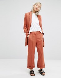 Adpt Crop Wide Leg Trouser Copper Brown Orange