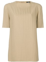 Giorgio Armani Vintage Pleated Shortsleeved Blouse Nude And Neutrals