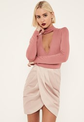 Missguided Pink Satin Pleated Waist Wrap Front Skirt Gold