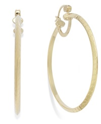 Sis By Simone I Smith Diamond Cut Hoop Earrings In 14K Gold Vermeil Over Sterling Silver