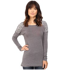 Rock And Roll Cowgirl Long Sleeve Loose Fit Tee 48T8192 Grey Women's T Shirt Gray