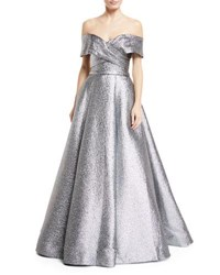 Jovani Metallic Off The Shoulder Ball Gown Silver