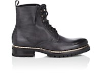 Harris Lug Sole Burnished Leather Boots Gray
