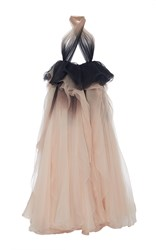 Marchesa Ombre Draped Halter Neck Gown Pink Black