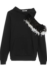 Christopher Kane Hooded Cutout Feather Trimmed Cotton Jersey Sweatshirt Black