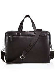 Salvatore Ferragamo Manhattan Leather Crossbody Briefcase Dark Brown