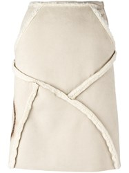Walter Van Beirendonck Vintage Panelled A Line Skirt Nude And Neutrals