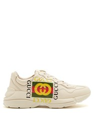 Gucci Rhyton Logo Print Low Top Leather Trainers White Multi