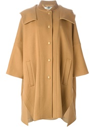 Stella Mccartney Oversized Hooded Coat Brown
