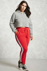 Forever 21 Plus Size Striped Sweatpants Red Cream
